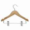 10-Pack Kid's Basic Hanger With Clips, Maple Finish