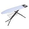 4 Leg Hd Ironing Board With Iron Rest, Pad- White/Blue Stripes Black Base