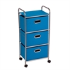 3 Drawer Rolling Cart Blue, Chrome / Blue