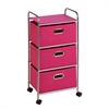 3 Drawer Rolling Cart Pink, Chrome / Pink