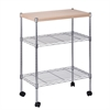 Chrome Utility Cart With Wood Top