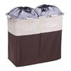 Honey Can Do Dual Compartment Light/Dark Hamper, Brown / Tan