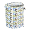 Large Patterned Pop Open Hamper, Brown/Green Squares