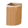 Honey Can Do Bamboo Wicker Corner Hamper, Natural Bamboo/Beige Canvas