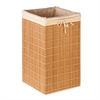 Honey Can Do Square Bamboo Wicker Hamper, Natural Bamboo/Beige Canvas