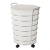 Chrome Rolling Hamper, White / Chrome