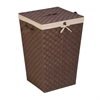 Honey Can Do Woven Strap Hamper With Liner And Lid, Java/Brown
