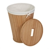 Nested Bamboo Hamper With Lid, Natural / Cream
