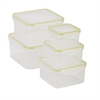 Honey Can Do Snap-Tab 5 Piece Food Storageset, Clear