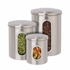 3Pk Metal Storage Canisters, Stainless Steel