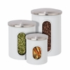 3Pk Metal Storage Canisters, White