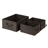 3Pc Set Woven Baskets, Espresso