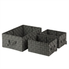 3Pc Set Woven Baskets, Salt&Pepper, Black/White