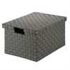 Honey Can Do Large Woven File Box, Salt&Pepper, Black/White