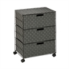 3-Drawer Chest With Wheels, Salt&Pepper, White/Black