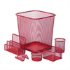 Honey Can Do 6Pc Steel Mesh , RedDesk Set