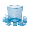 6Pc Steel Mesh, Blue Desk Set