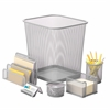 Honey Can Do 6Pc Steel Mesh, Silver  Desk Set