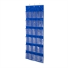 24 Pocket Over-Door Shoe Organizer, Polyester, Navy, Blue W/ Clear Pockets