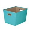 Honey Can Do Medium Decorative Storage Bin With Handles, Blue