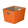 Medium Decorative Storage Bin With Handles, Orange