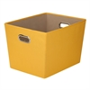Large Decorative Storage Bin With Handles, Yellow