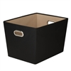 Large Decorative Storage Bin With Handles, Black