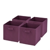 Honey Can Do 4-Pack Non-Woven Foldable Cube- Purple