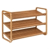 3-Tier Deluxe Bamboo Shoe Shelf, Natural Finished Bamboo