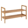 2-Tier Bamboo Shoe Shelf, Natural Finished Bamboo