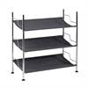 3-Tier Canvas Shoe Rack, Chrome And Charcoal Gray