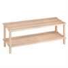 2-Tier Unfinished Natural Wood Shoe Rack