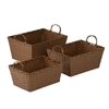 Honey Can Do 3Pc Set Paper Rope Baskts, Brown
