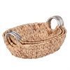 3Pc Oval Water Hyacinth Baskets, Natural