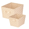 2-Pc Woven Basket Set, Creme