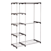 Honey Can Do Double Rod Freestanding Closet, Silver / Black