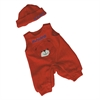 BABY DOLL CLOTHES RED JUMPER WITH HAT