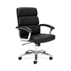 basyx by HON HVL103 Executive High-Back Chair | Center-Tilt | Fixed Arms | Polished Aluminum | Black SofThread Leather