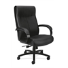 HVL685 Big and Tall Executive Chair | Center-Tilt | Fixed Arms | Black SofThread Leather