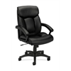 basyx by HON HVL151 Executive High-Back Chair | Center-Tilt | Fixed Arms | Black SofThread Leather