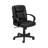 basyx by HON HVL171 Executive Mid-Back Chair | Center-Tilt | Fixed Arms | Black SofThread Leather