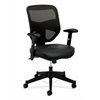 by HON HVL531 Mesh High-Back Task Chair | Center-Tilt | Adjustable Arms | Black SofThread Leather Seat