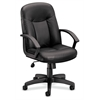 basyx by HON HVL601 Executive High-Back Chair | Center-Tilt | Fixed Arms | Black SofThread Leather