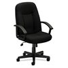 basyx by HON HVL601 Executive High-Back Chair | Center-Tilt | Fixed Arms | Black Fabric