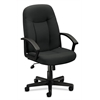 basyx by HON HVL601 Executive High-Back Chair | Center-Tilt | Fixed Arms | Charcoal Fabric