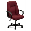 basyx by HON HVL601 Executive High-Back Chair | Center-Tilt | Fixed Arms | Burgundy Fabric
