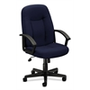 basyx by HON HVL601 Executive High-Back Chair | Center-Tilt | Fixed Arms | Navy Fabric