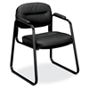 HVL653 Sled Base Guest Chair | Fixed Arms | Black SofThread Leather