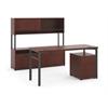 "basyx by HON Manage Executive Workstation | Desk, 2 File Centers, Pedestal, Overhead | 60""W x 82""D | Chestnut Laminate | Ash Finish"