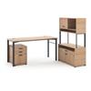 "basyx by HON Manage L-Workstation | Desk, File Center, Pedestal, Overhead | 72""W x 60""D | Wheat Laminate | Ash Finish"
